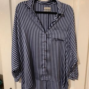 Oversized Urban Outfitters Striped Silk Shirt